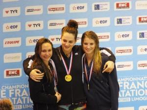 Podium du 50 m dos dames (Limoges 2015)