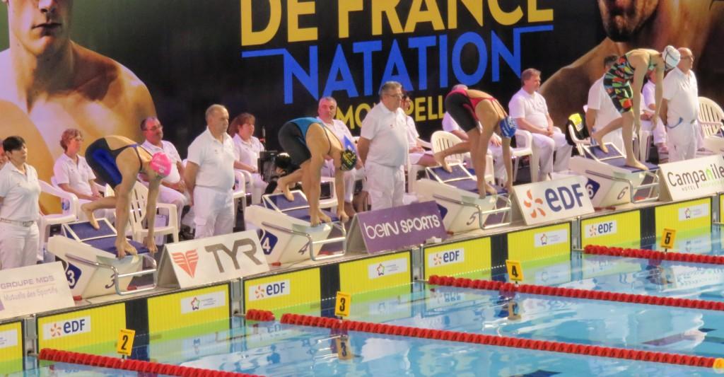 Anna Santamans, Mathilde Cini, Charlotte Bonnet et Béryl Gastaldello au départ de la finale du 100m NL.